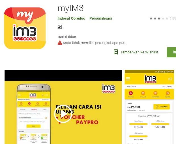 Menggunakan Aplikasi myIM3 Untuk Cek Sisa Kuota Indosat