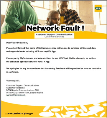 MTN Blocked its Users From Buying Airtime, Data Via USSD Code