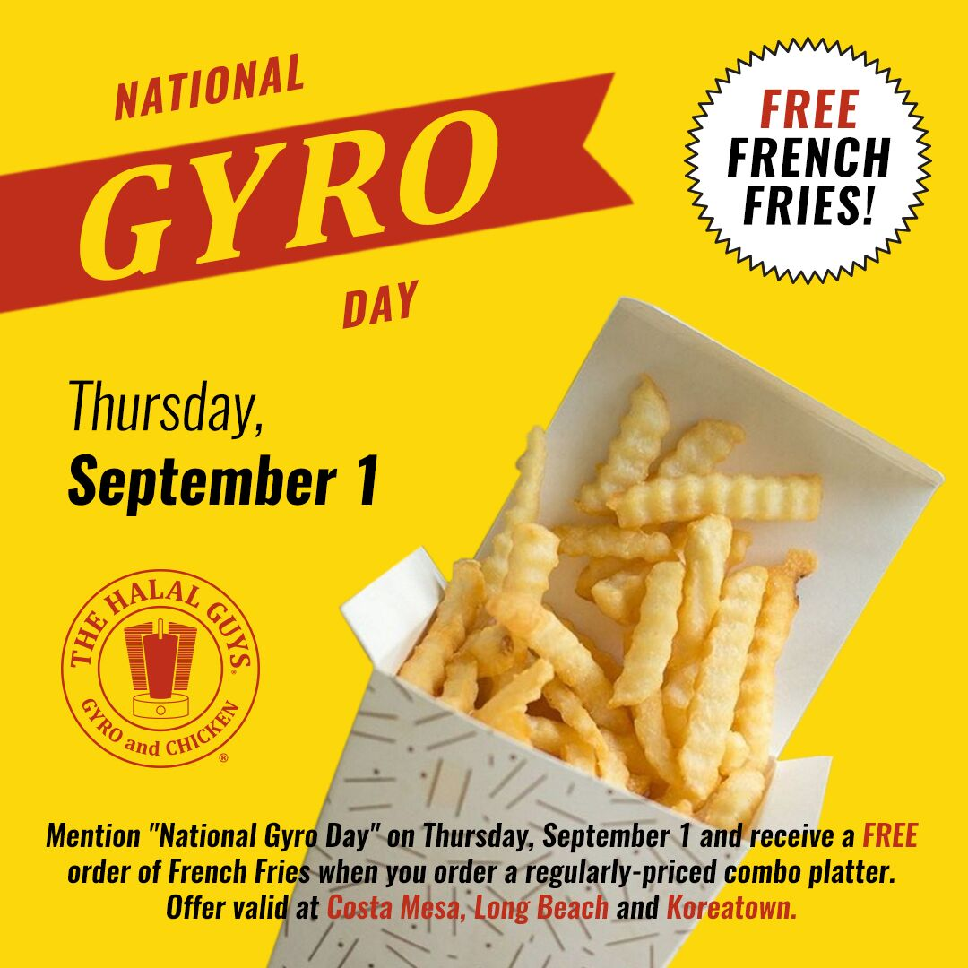 Halal Guys Offers Free Fries for National Gyro Day on Sept. 1!