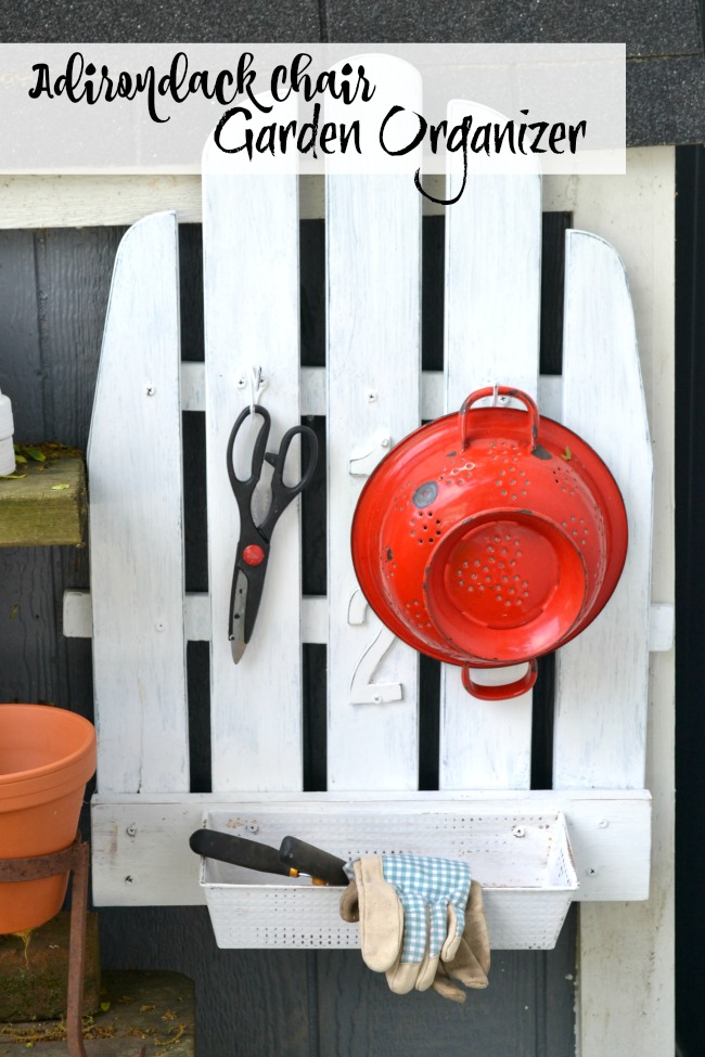 Broken Adirondack chair is repurposed into the perfect Potting bench organization. Homeroad.net