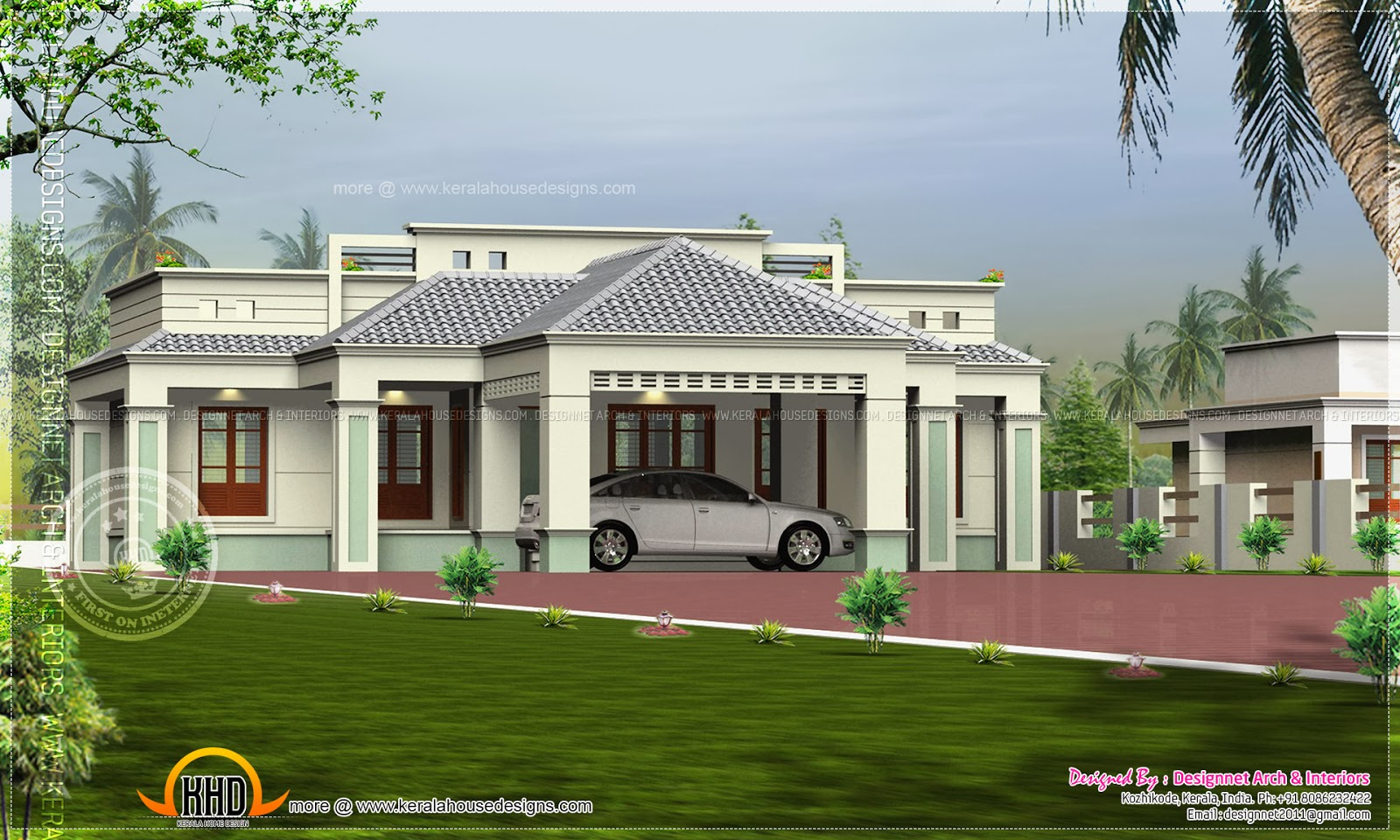 Single floor home with center car porch home kerala plans for One level house plans with porch