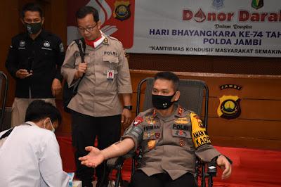 Sambut Hari Bhayangkara Ke-74, Kapolda Jambi Gelar Donor Darah