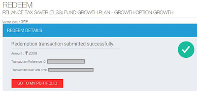 Reliance Mutual Fund Redemption Successful