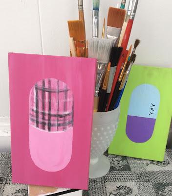 Plaid Pill Painting Stefanie Lynn Girard, Pill art, Drug art, pharmacy art, pop art, modern art