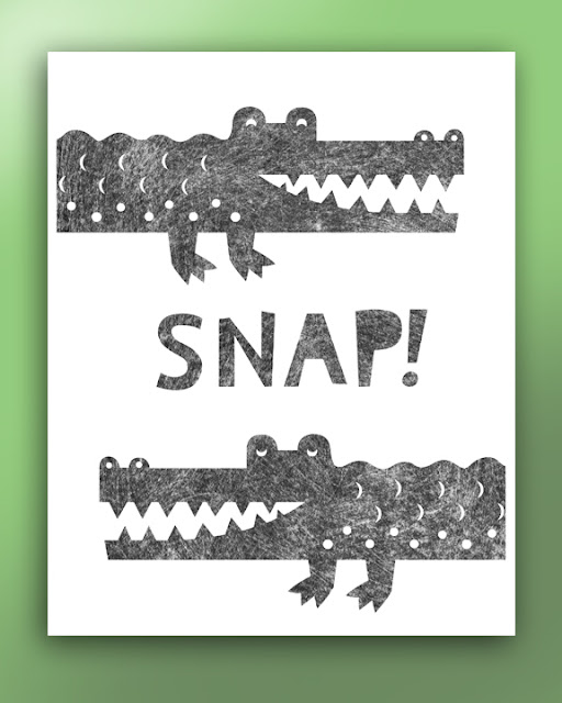 Cut out silhouette picture of two crocodiles
