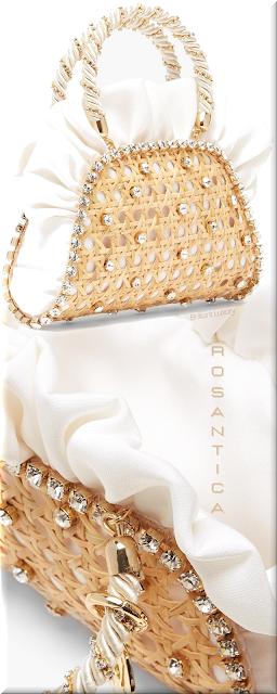 Rosantica white Crepes crystal-embellished rattan bag #bags #eveningbags #rosantica #brilliantluxury
