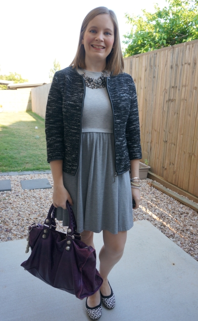 monochrome office outfit grey skater dress boucle jacket leopard print flats and purple balenciaga work bag | awayfromblue
