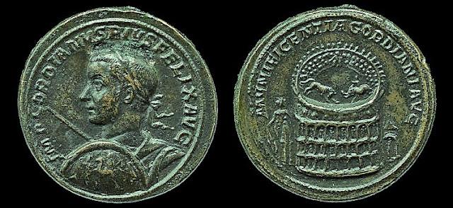 Meallón de Gordiano III con representación del Coliseo