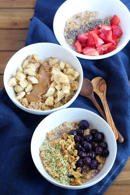 bowls of steel cut oatmeal with various toppings