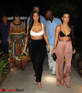 Kim and Kourtney Kardashian Huge boobs cleavages night out 28th Jan 2017