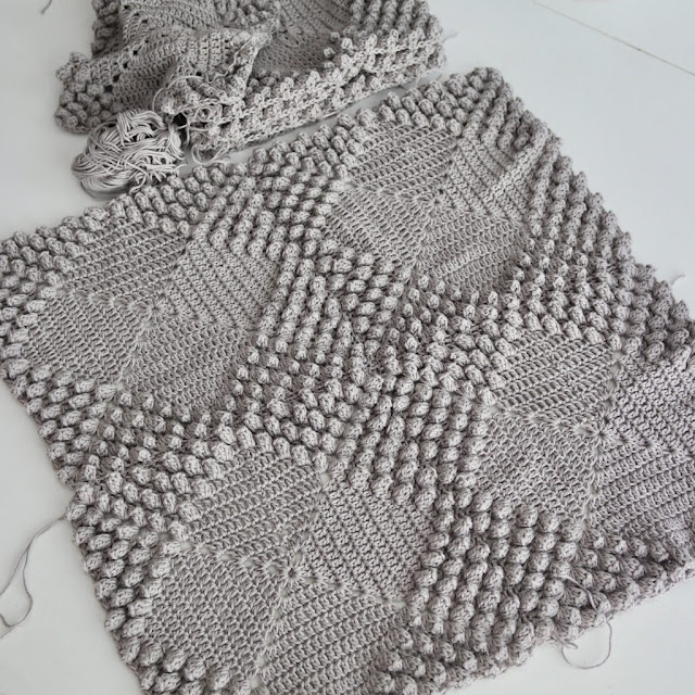 Grey crochet blanket by Anazardlovesvienna
