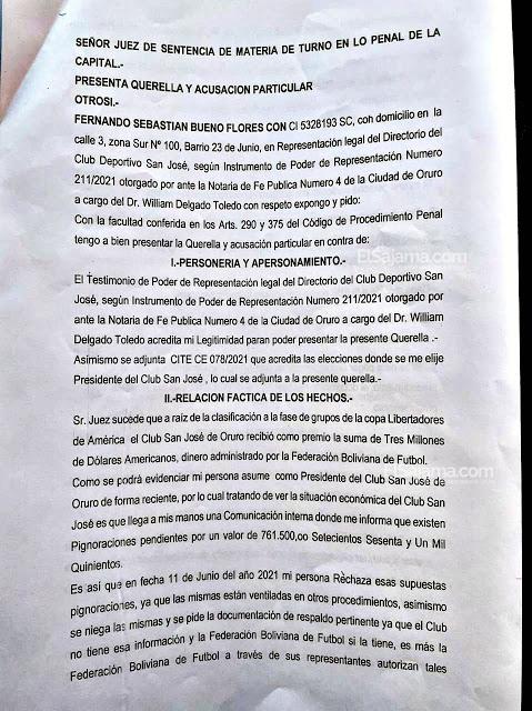 Documento presentado para las pignoraciones