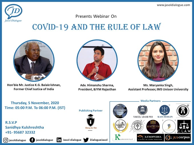 """Jasol Dialogue Webinar On """"COVID - 19 AND THE RULE OF LAW"""