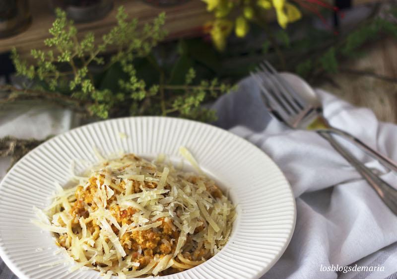 Espaguetis con boloñesa de calabacines