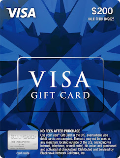$200 Visa Gift Card (plus $6.95 Purchase Fee) USA
