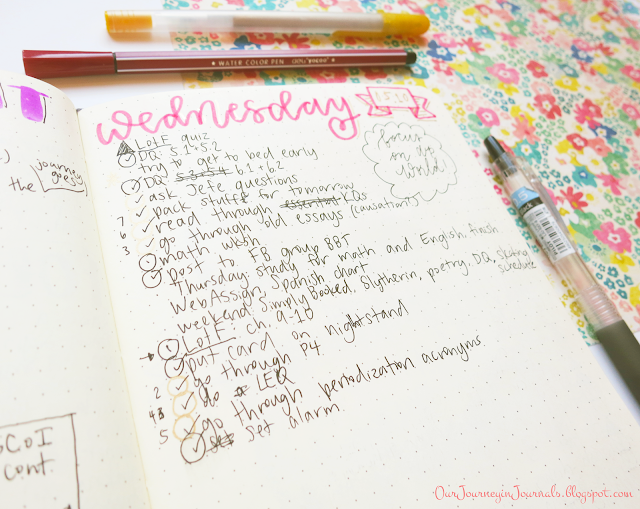 photo of bullet journal daily spread with numbered tasks