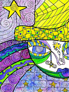 whimsical line and shape art with figure in yellow hat; stars on face and clothes