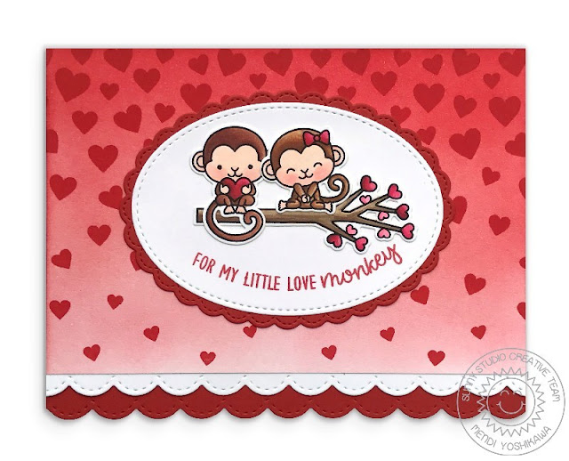 Sunny Studio Stamps: Love Monkey Valentine's Day Card (using Cascading Heart Stamps, Stitched Scallop Border Dies, Fancy Frames Ovals, & Stitched Oval Dies)