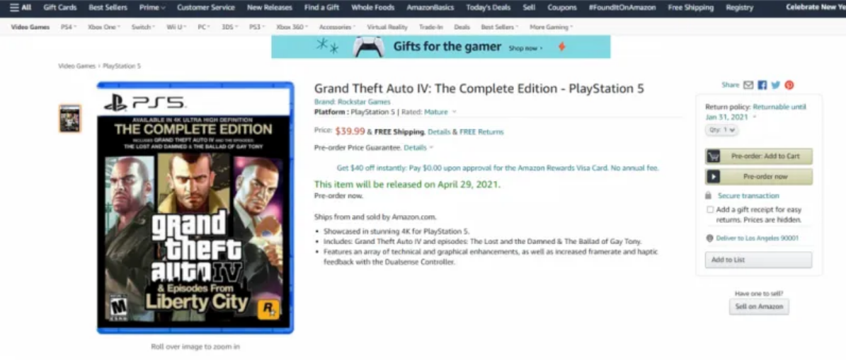 Grand Theft Auto IV: Complete Edition May Come To PS5