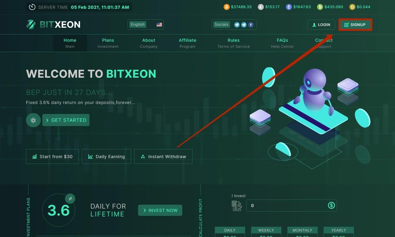 Регистрация в BitXeon