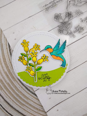 Shaped Hummingbird Card by Diane Morales using the Hummingbird Stamp Set by Newton's Nook Designs