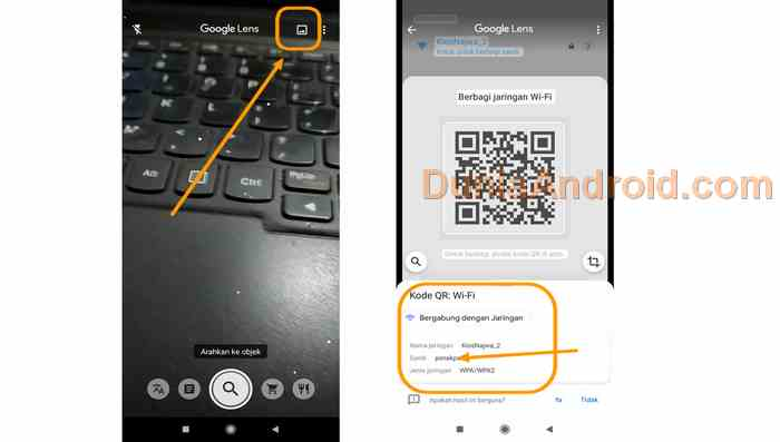 Melihat kode WiFi dengan aplikasi Lens google