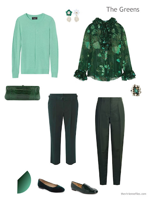 Four green garments for evening wear