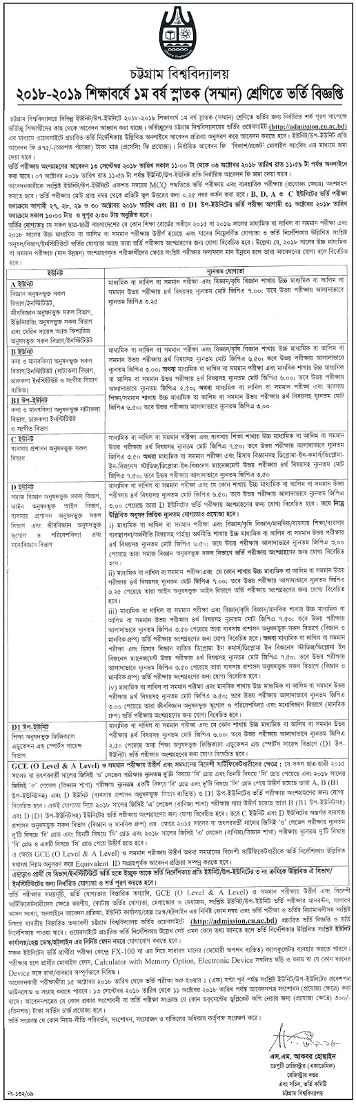 CU CTG Chittagong University Admission Test Circular 2018-19