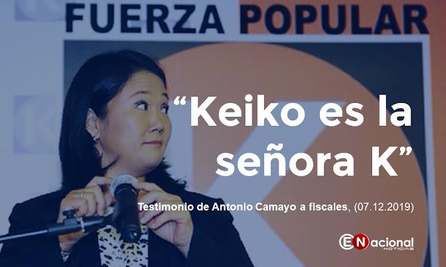 """Antonio Camayo confirmó en testimonio brindado a fiscales, que """"Keiko es la señora K"""""""