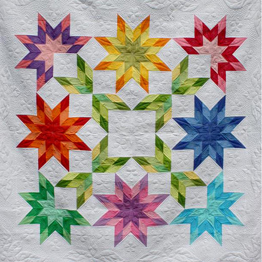 Jelly Roll Strip Starburst Quilt Free Pattern