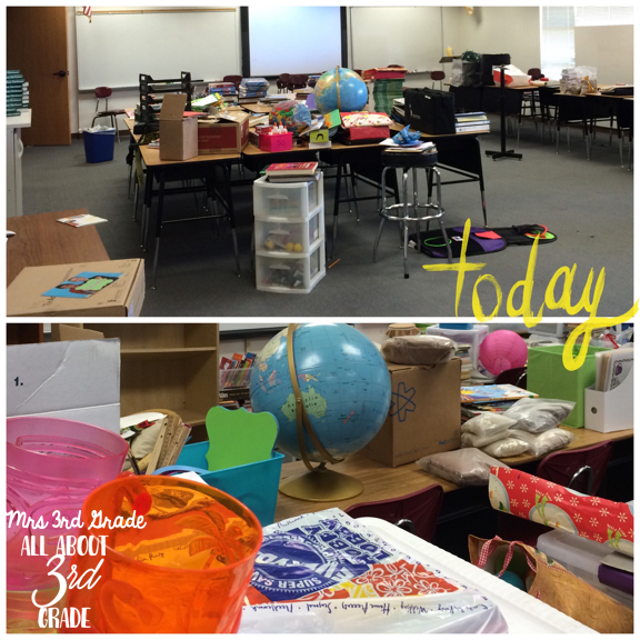 The mess I left at the end of the school year in 2015 when I couldn't unpack or move into my new classroom, but had to MOVE everything to my new classroom!