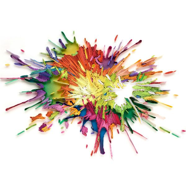 paint splatter composed of on-edge colorful paper strips
