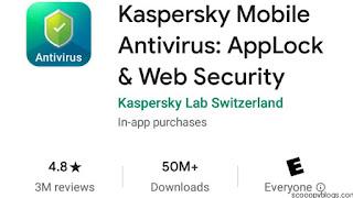 Kaspersky Antivirus has 4.8 Ratings and 50 million plus downloads