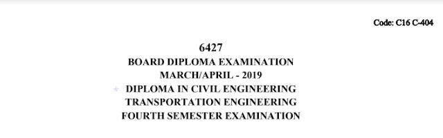SBTET c16 Transportation Engineering Previous Question Paper March/April 2019