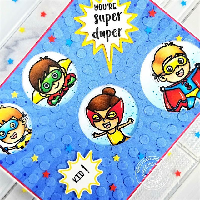 Sunny Studio Stamps: Comic Strip Speech Bubble Dies Super Duper Staggered Circles Dies Card by Ana Anderson