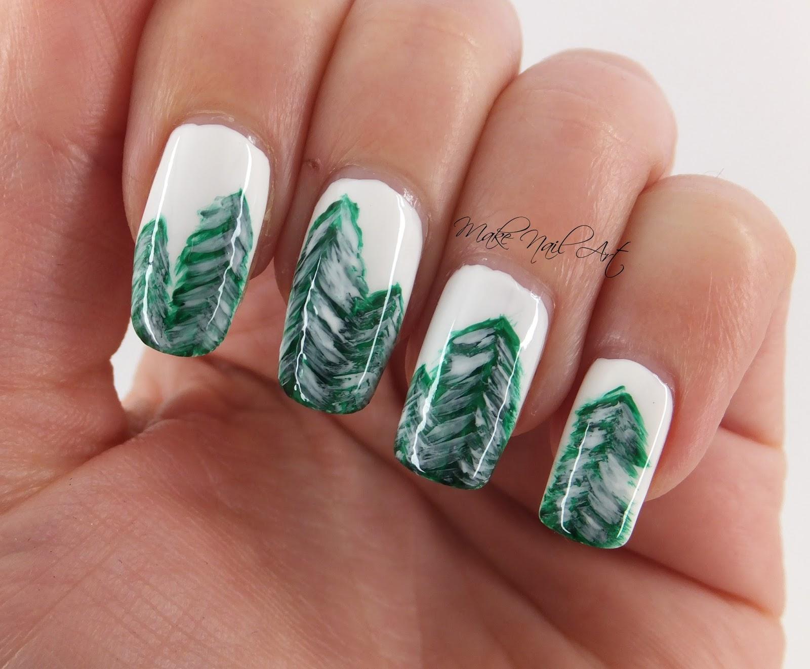Make Nail Art Winter Forest Nail Art Design Tutorial
