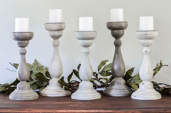 5 Painted Candle Holders