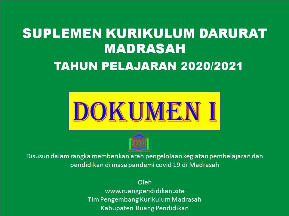 Contoh Domunen 1 Kurikulum Darurat Pada Madrasah Tahun Pelajaran 2020 2021 Ruang Pendidikan