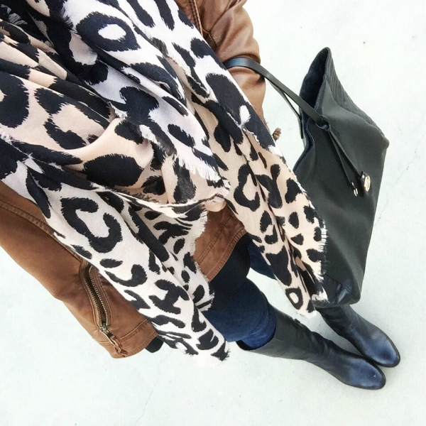 leopard scarf, faux leather jacket, riding boots
