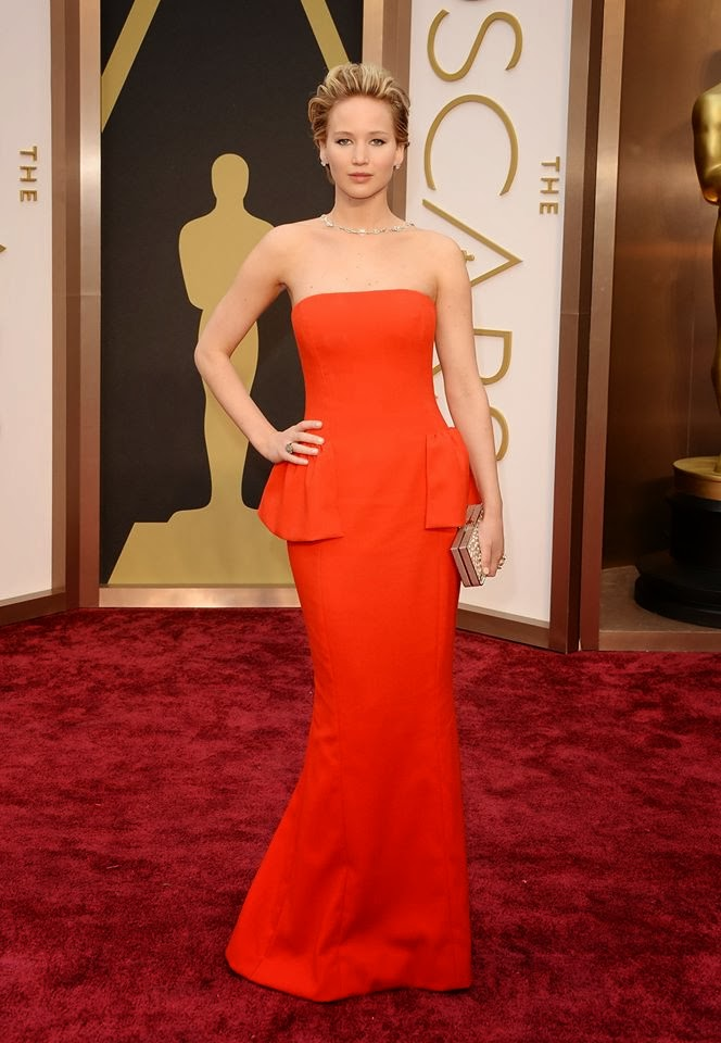 Jennifer Lawrence at the Academy Awards 2014 in Dior