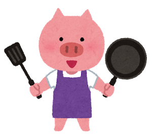 料理をする動物のキャラクター(ブタ)