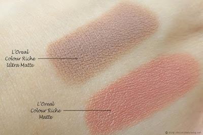 L'Oreal Colour Riche Ultra Matte Lipsticks comparison L'Oreal Colour Riche Matte Lipsticks