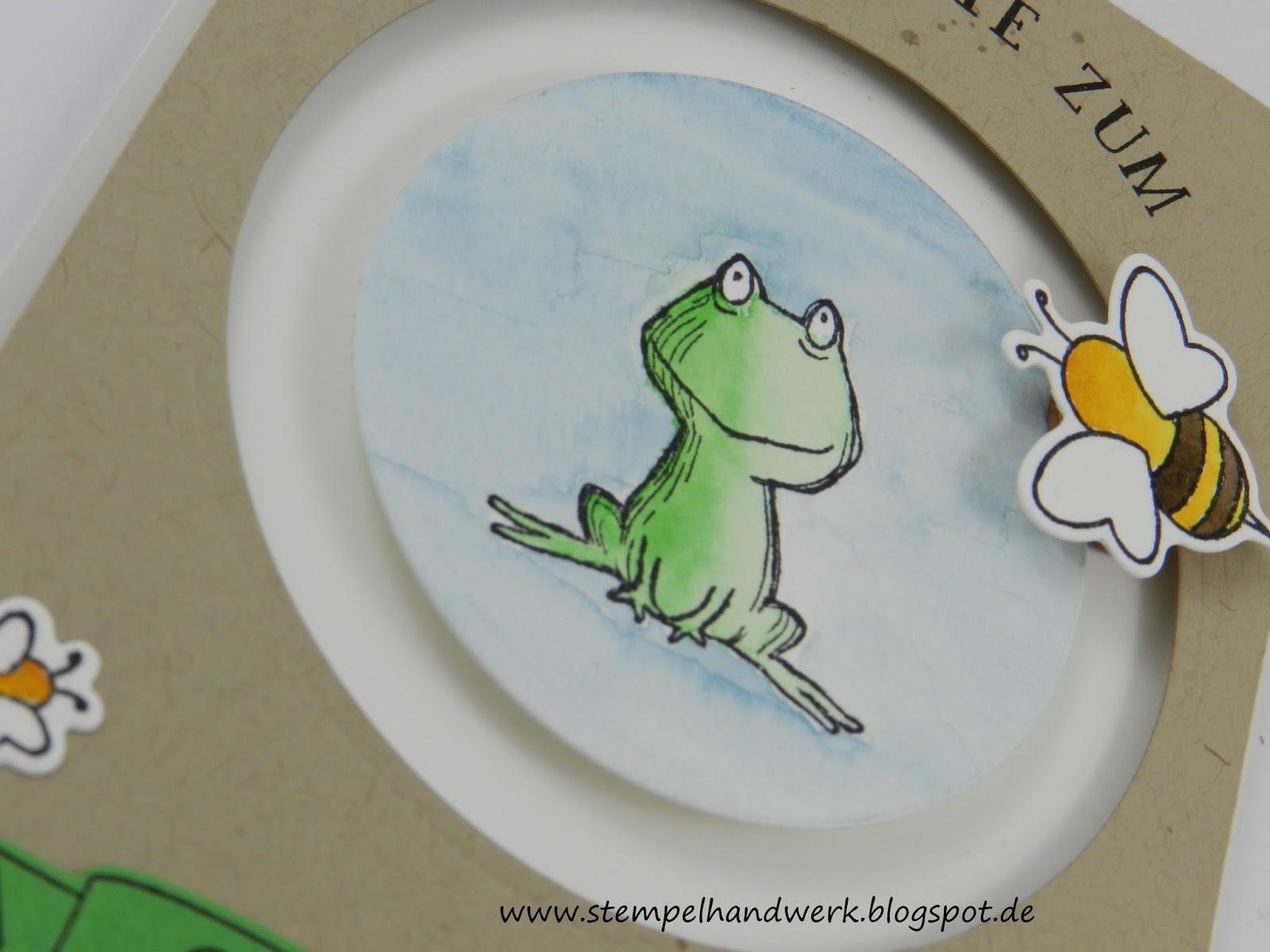 Stempelhandwerk: Interaktive Geburtstagskarte mit Frosch