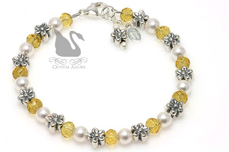 Swarovski Pearl Yellow Daisy Beaded Bracelet (B176) by Crystal Allure