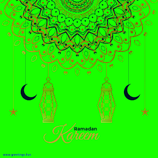 Ramadan Kareem! Greetings with crescent moon lanterns hanging stars islamic designs