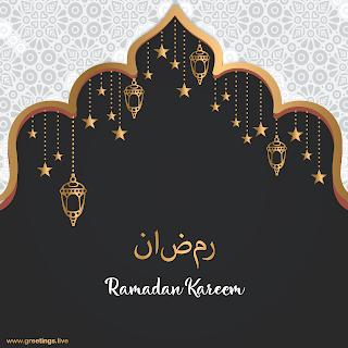 ramadan kareem Images golden lanterns hanging stars greeting cards
