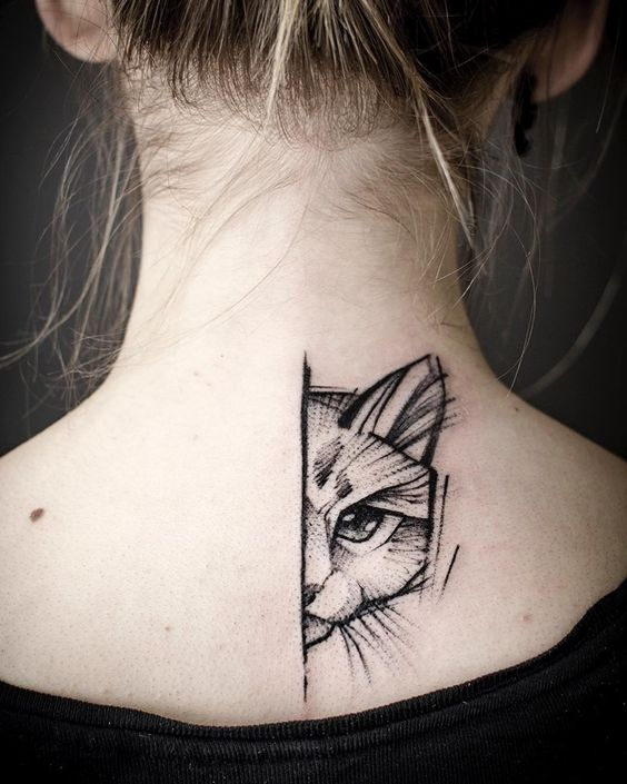Cat Eye Tattoo on back