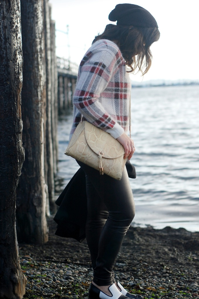 424 Fifth plaid sweater and Aritzia leather leggings Vancouver blogger