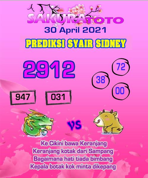 Syair Sakuratoto Sidney Jumat 30 April 2021