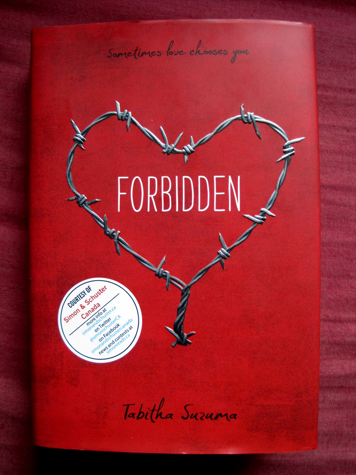 A Tapestry Of Words  YA Reviews  In My Mailbox  31  Forbidden by Tabitha Suzuma     won this on Twitter  thanks Simon Pulse